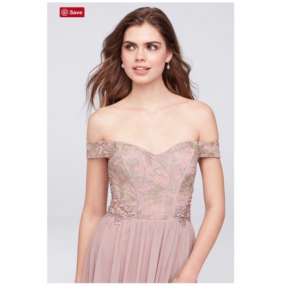 3ce51bcff22 City Triangles Dresses   Skirts - Off-the-Shoulder Lace and Chiffon Corset  Gown